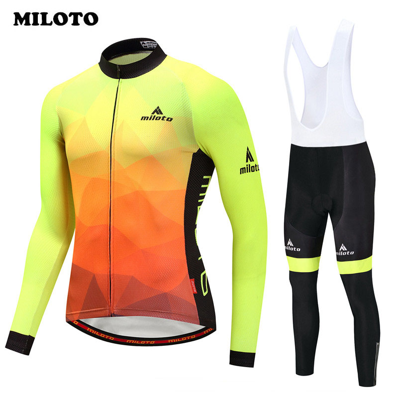 Miloto Cycling Jersey Long Sleeve Set pro team Cycling Clothing Autumn Road mtb Bike Jersey Suit Ropa Ciclismo Bicycle Clothing набор автомобильных экранов trokot для ford transit 2000 2006 на передние двери и на передние форточки