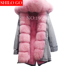Plus 2017 new winter army green jacket women outwear thick parkas natural real fox fur collar pink rabbit coat hooded pelliccia