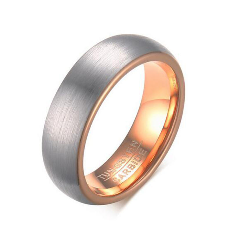 6mm Width Wedding Band Ring for Men Quality Tungsten Carbide Ring Fashion Rose Gold Plating Ring