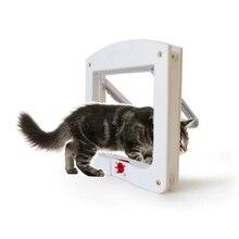 Intellgent управление 4 способ безопасный кошачий ворот двери ABS животное маленькая кошка дверь для собаки товары для домашних животных створчатая дверь для домашних животных котенок дверь zh1