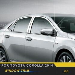 Dla Toyota Corolla 2014 samochodów stylizacji bramy drzwi okno rama pokrywy wykończenia naklejki akcesoria zewnętrzne w Naklejki samochodowe od Samochody i motocykle na