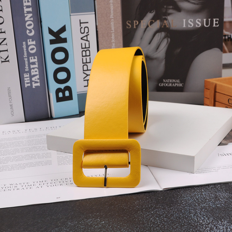 2019 New Fashion Accessories Casual Female Belt Solid Plastic Head Smooth Buckle Belt Stylish Candy Color PU Leather Belt Yellow