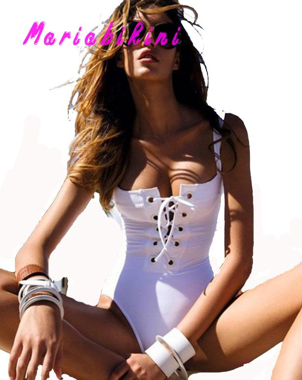 white bathing suit bandage bottom with halter top swimsuit girls swim wear for lady summer