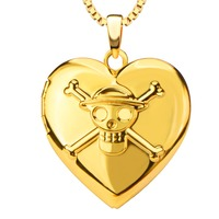 Person Cranial Head Pendant 18K Real Gold Plated Fashion Vintage Jewelry Women Gift Romantic Heart Necklaces