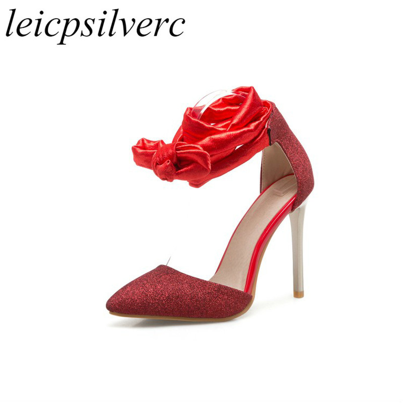 03fd13f2cd4 Women Sandals Super High Heel Shoes 2018 Summer Spring Pointed Toe Lace Up  New Sexy Fashion Casual Dress Wedding Gold Silver Red-in High Heels from  Shoes on ...