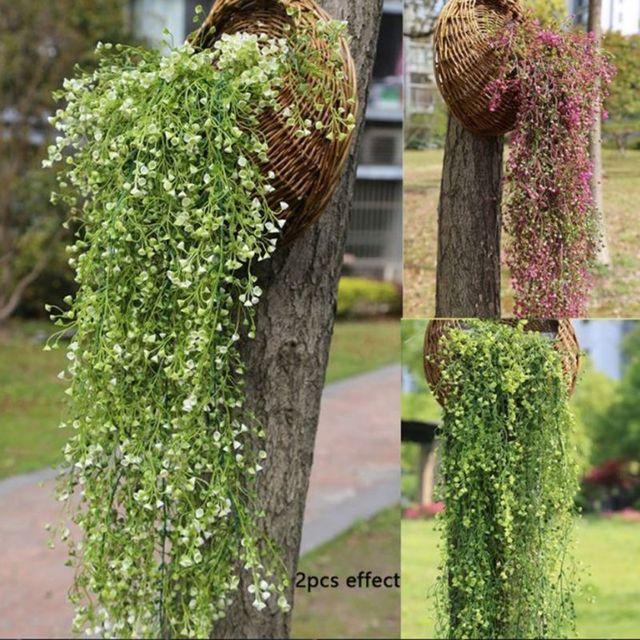 2018 Новые горячие модные искусственные Пластик листьев плюща растения-гирлянды искусственные цвета, ротанг цветы Home Decor