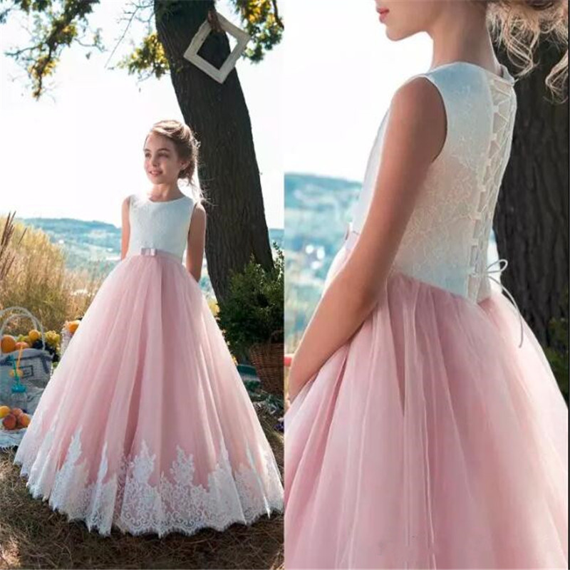 Beautiful   Flower     Girl     Dress   For Weddings with Withe Lace Lace Up Back Appliques Tulle Princess Floor Length Vestidos de Novia
