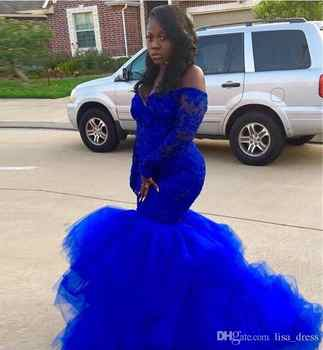 Sexy African Black Girls Royal Blue Mermaid Prom Dresses 2019 Long Sleeve Appliques Lace Tulle Women Long Party Evening Gowns - DISCOUNT ITEM  30% OFF All Category