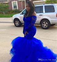 Sexy African Black Girls Royal Blue Ruffled Prom Dresses Mermaid Long Sleeve Appliques Lace Tulle Women Long Party Evening Gowns
