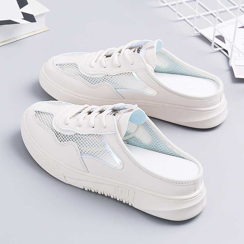 Women sneakers shoes 2019 fashion summer casual ladies shoes cutouts lace canvas hollow mesh breathable platform flat shoes in Women 39 s Vulcanize Shoes from Shoes