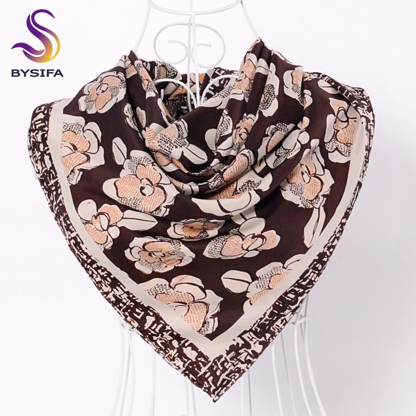 [BYSIFA] Female Grey Silk   Scarf   Shawl Fashion Brand Floral Pattern Twill Square   Scarves     Wraps   Autumn Winter   Scarves   Cape Echarpe