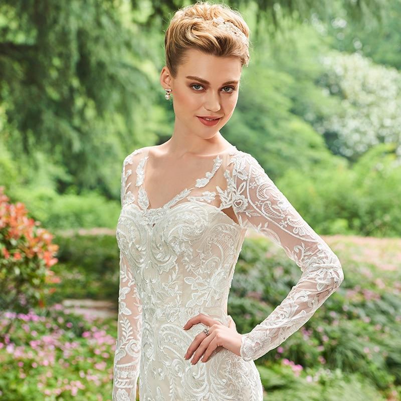 Dressv V Neck Γοργόνα Φόρεμα Γάμου Μακρύ - Γαμήλια φορέματα - Φωτογραφία 4