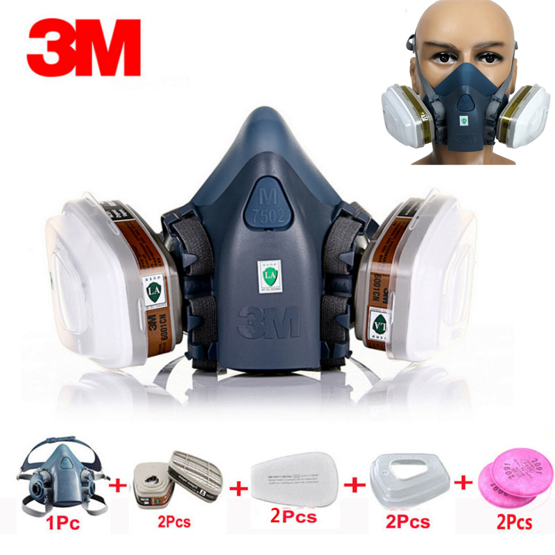 9 In 1 Suit Gas Mask Half Face Respirator Painting Spraying For 3 M 7502 N95 6001cn Dust gas Mask Respirator 3m 7502 18 in 1 suit spraying painting respirator gas mask half face anti dust mask with 1621 safety protection goggles