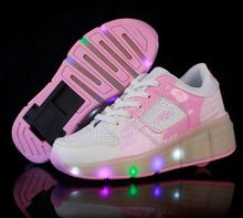 NEW 2017 Child  sneakers LED Light Shoes Roller Skate Shoes For Children Kids Junior Girls Boys Sneakers With Wheels