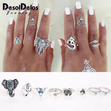 8pcs /Pack Boho Retro Elephant Snake Blue gem Rings Lucky Stackable Midi Rings Set of Rings for Women Party Bague Homme stylish 5 pcs set faux gem embossed rose rings for women