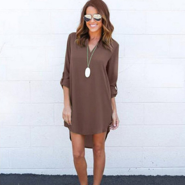 9f49e296e Sencilla Camisa de gasa verano otoño mujer manga larga blusa suelta cintura  VNeck sólido Camisa larga