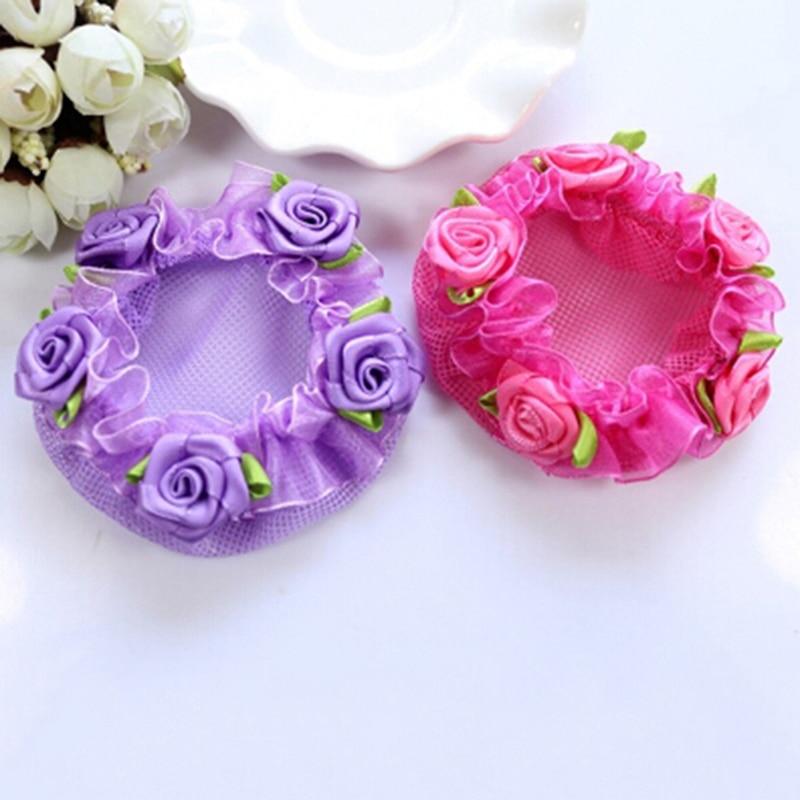 1pc Flower Bun Hair Nets for Girls Cute Kids' Bun Net Hair Bun Cover Dancewear Hair Accessories Girls Gifts