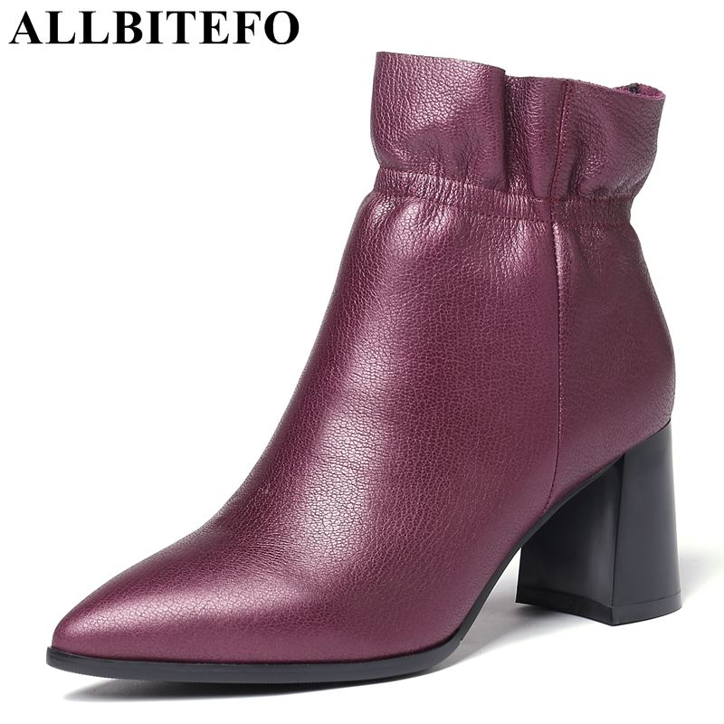 allbitefo brand genuine leather super high heel ankle women boots fashion sexy ladies girls martin boots motocycle boots shoes ALLBITEFO brand High quality genuine leather fashion sexy women martin boots high heel shoes Autumn winter motocycle boots woman