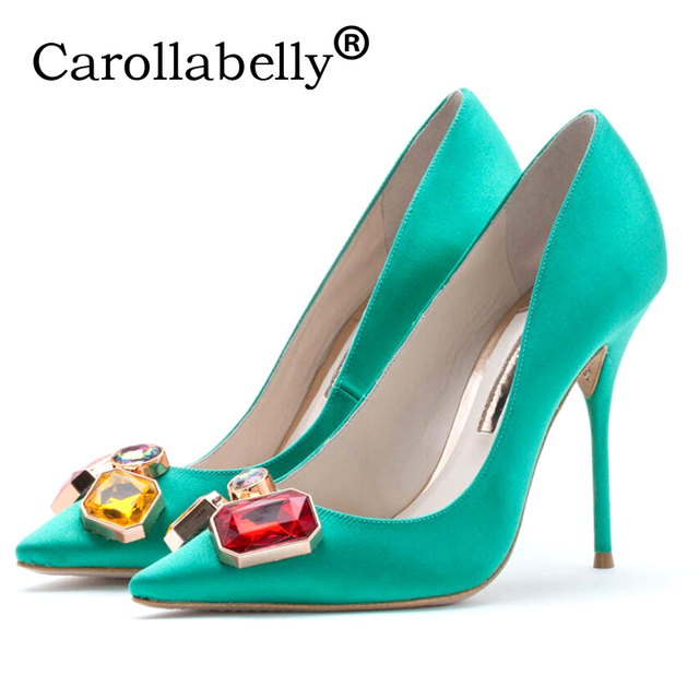 c0149447857a Carollabelly New Brand Women Evening Shoes Woman High Heels 10CM Wedding  Heels Rose Red Women Pumps Brand Party Shoes For Women
