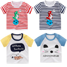 цена на Cartoon children's short-sleeved t-shirts pure cotton half-sleeved baby boys and girls summer clothes 0 2 3 4 5 6 years old