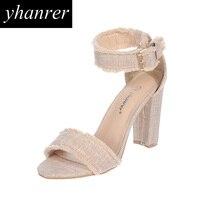 New Women S Roman Sandals Buckle Strap Fringe Thick Heel Pumps Retro Hemp High Heels Tassel