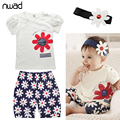 Newborn Baby Girl Outfits Infant  Flower Print Clothing Baby Girl Summer Clothes Set Short Sleeve Tops+Pants+Headband FF102
