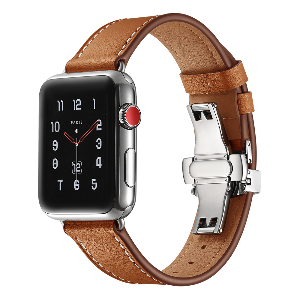 купить Leather strap For Apple watch band 40mm 44mm 42mm 38mm iwatch series 4/3/2/1 bracelet Watchbands Wrist Belt & Butterfly buckle по цене 1176.42 рублей
