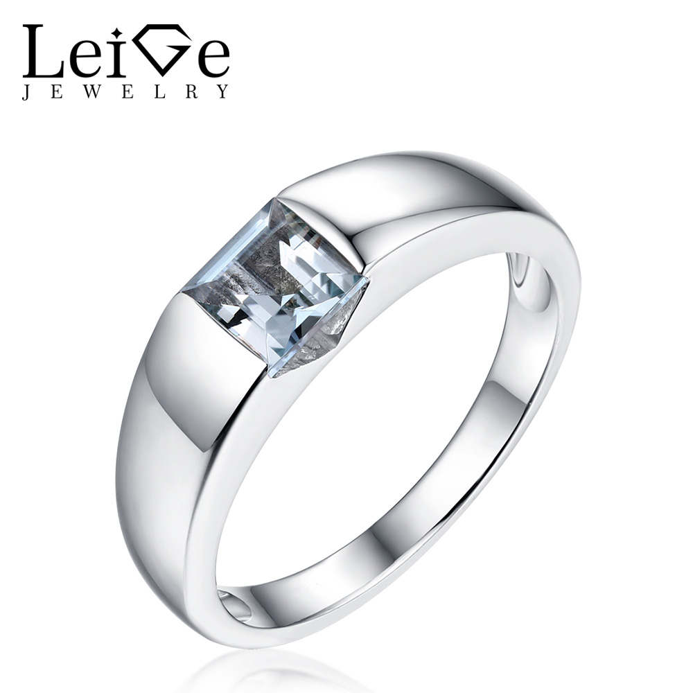Leige Jewelry Ring with Stones Sterling Silver Natural Blue Aquamarine Rings Square Cut Bezel Setting for