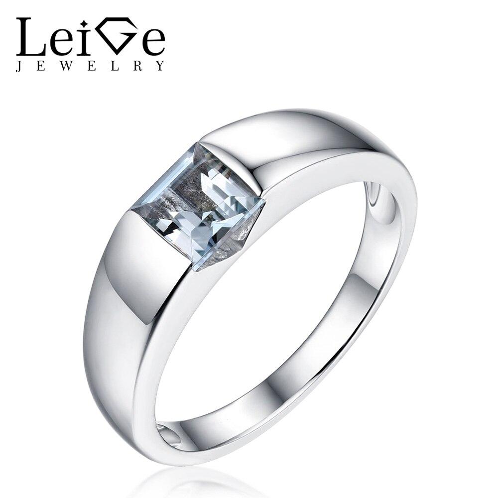 Biżuteria lab Leige szmaragdowy pierścionek z kamieniami Sterling srebrny naturalny niebieski akwamaryn pierścienie kwadratowe wycięcie Bezel ustawienie dla kobiet prezent na rocznicę w Pierścionki od Biżuteria i akcesoria na  Grupa 1