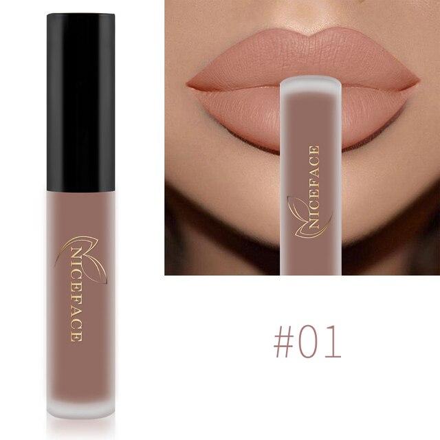 NICEFACE Lip Gloss 34 Colors Nude Matte Liquid Lipstick Mate Waterproof Long Lasting  4