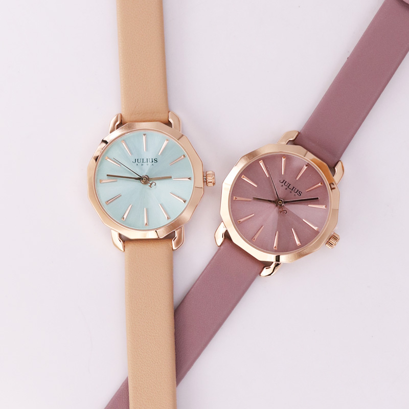 New Julius Women's Watch Japan Quartz Hours Fashion Dress Bracelet Real Leather Retro Simple Valentine Girl's Birthday Gift Box julius ladies fashion quartz watch women bracelet clasp casual dress leather wristwatch japan quartz birthday gift ja 965