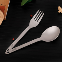 Tiartisan Titanium Tableware Dinner Spoon Fork Cutlery Set Flatware with Carabiner Storage Sack for Home Outdoor Camping Picnic Outdoor Tablewares     -
