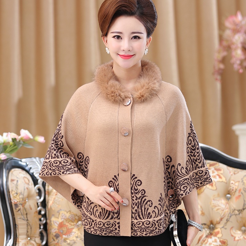 Quinquagenarian women s autumn and winter cardigan sweater mother clothing batwing sleeve sheep fur shawl fur