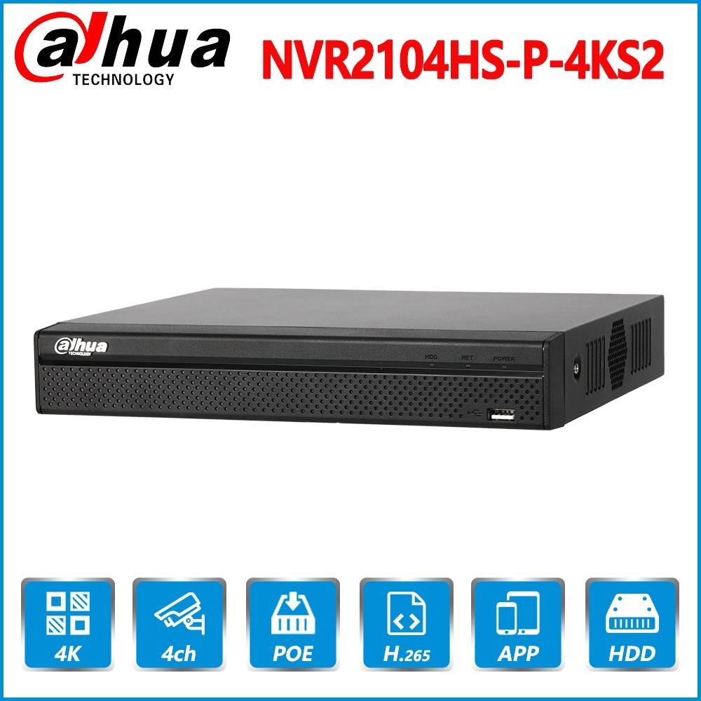 Dahua Original Em Inglês NVR2104HS-P-4KS2 4 CH 4PoE Lite 4 K H.265 8MP Registro Gravador de Vídeo em Rede NVR Para A Câmera IP SISTEMA de CFTV