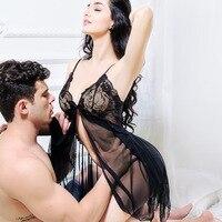 Сексуальная комбинация из двух частей, костюм для девушек, кружевная одежда для сна, женское белье, искушение на тонких бретельках, прозрачн...