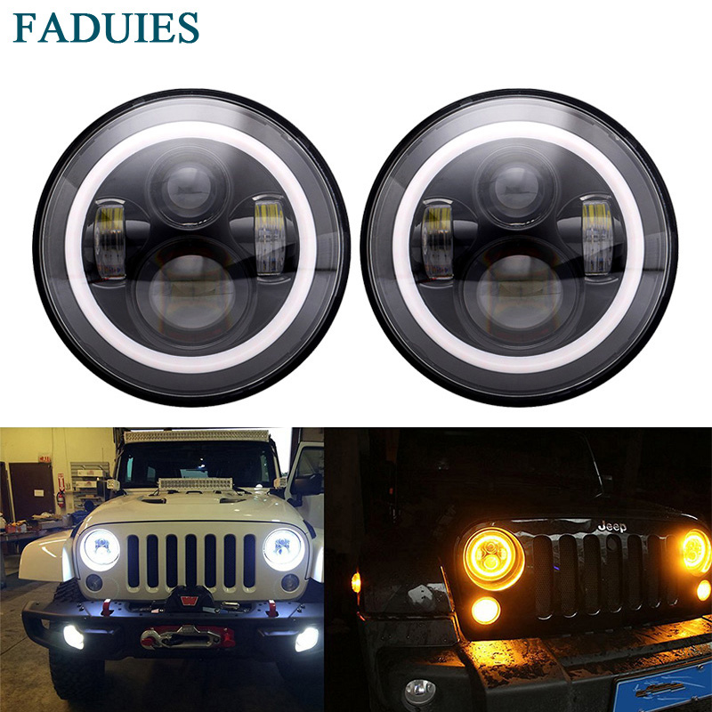 FADUIES 7 Inch Led Headlight H4 DRL Round 7'' Headlights with Yellow & White Angel Eye for Jeep Wrangler Lada Niva 4x4 7 inch round led headlights drl