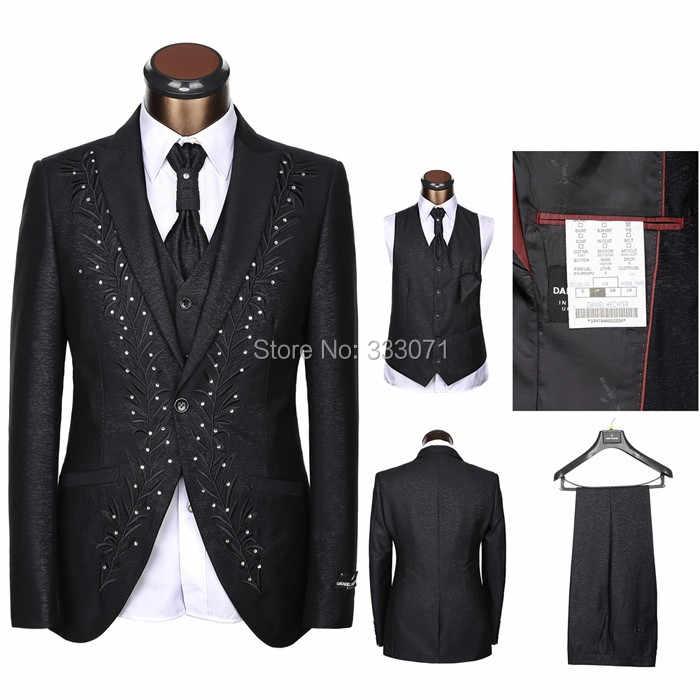 最新コートパンツデザイン仕立てラインストーン男スーツ白黒クリーム刺繍結婚式のスーツ新郎タキシード3ピース