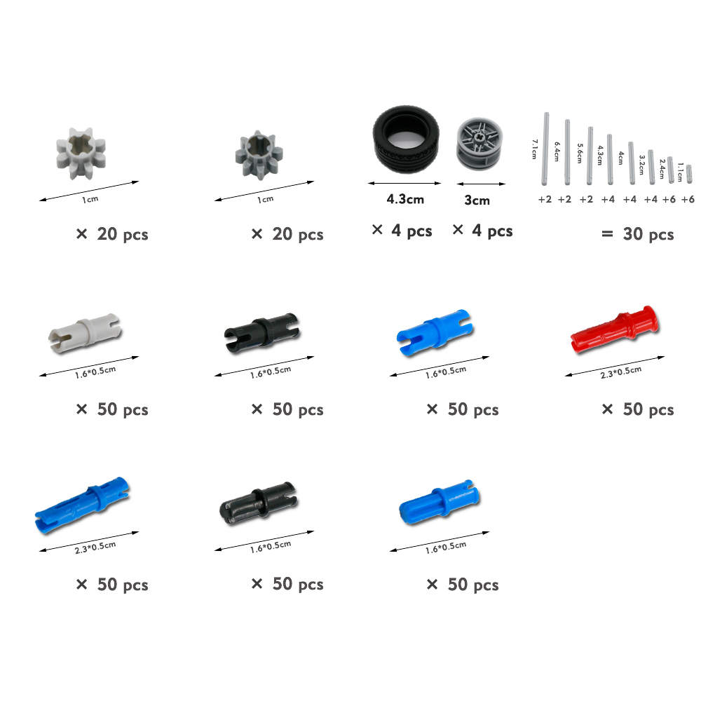 Image 3 - Technic Parts Gear Blocks Cross Axles Accessory Car Tires Sets Truck Connector Toys compatible LegoINGlys Building Bricks 650PCS-in Blocks from Toys & Hobbies