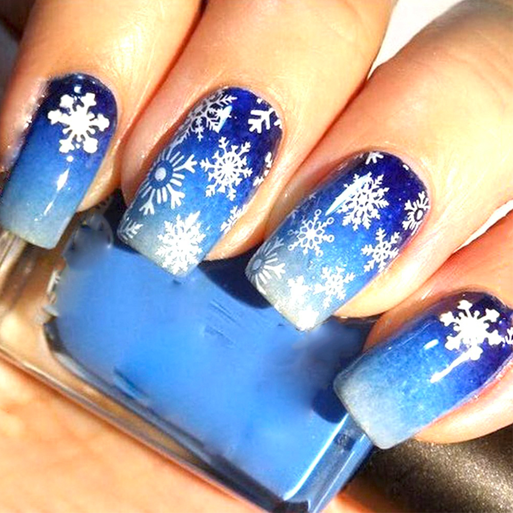 Image 5 - 30 ピース/セット雪のステッカー冬マニキュア水転写デカール雪だるま鹿白青ネイルアート箔装飾 TR862 -    グループ上の 美容