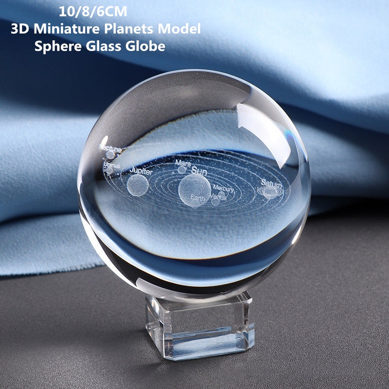 10/8/6CM Laser Engraved Solar System Ball 3D Miniature Planets Model Sphere Glass Globe Ornament Home Decor Gift For Astrophile