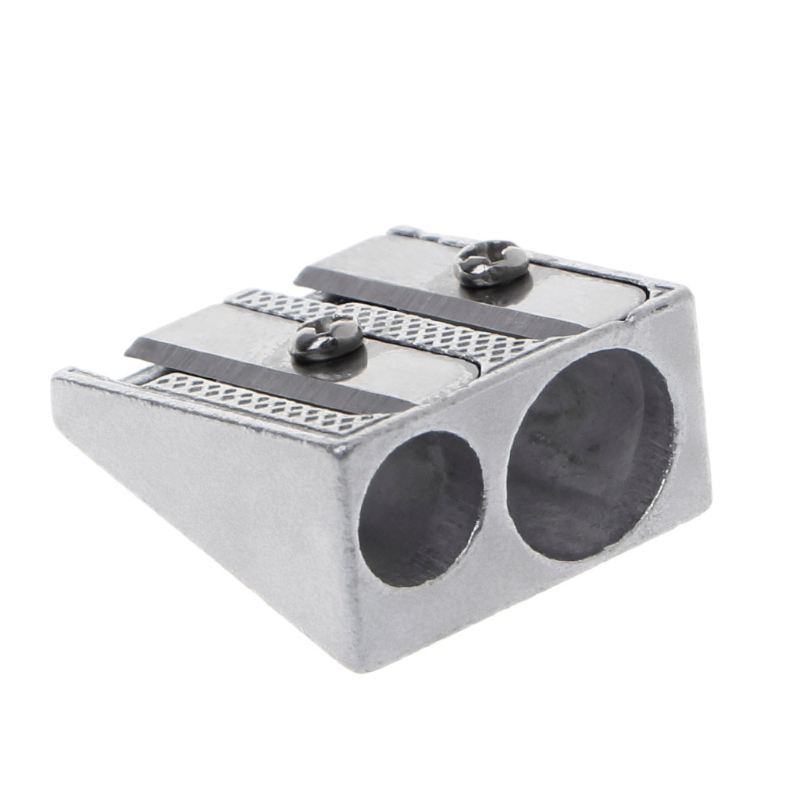 Metal Bevelled Double Hole Pencil Sharpener School Office Stationery