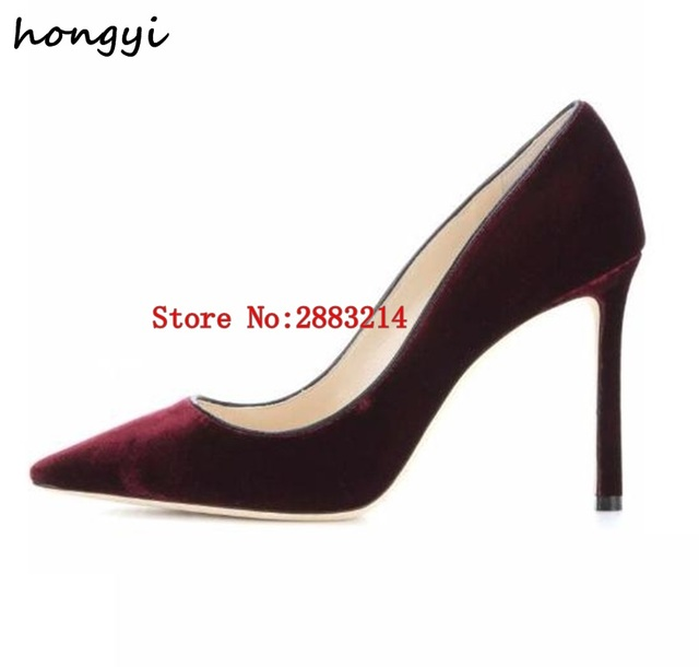 2018 sexy high heel shoes pointed toe woman pumps vintage velvet stiletto  heels green black wine