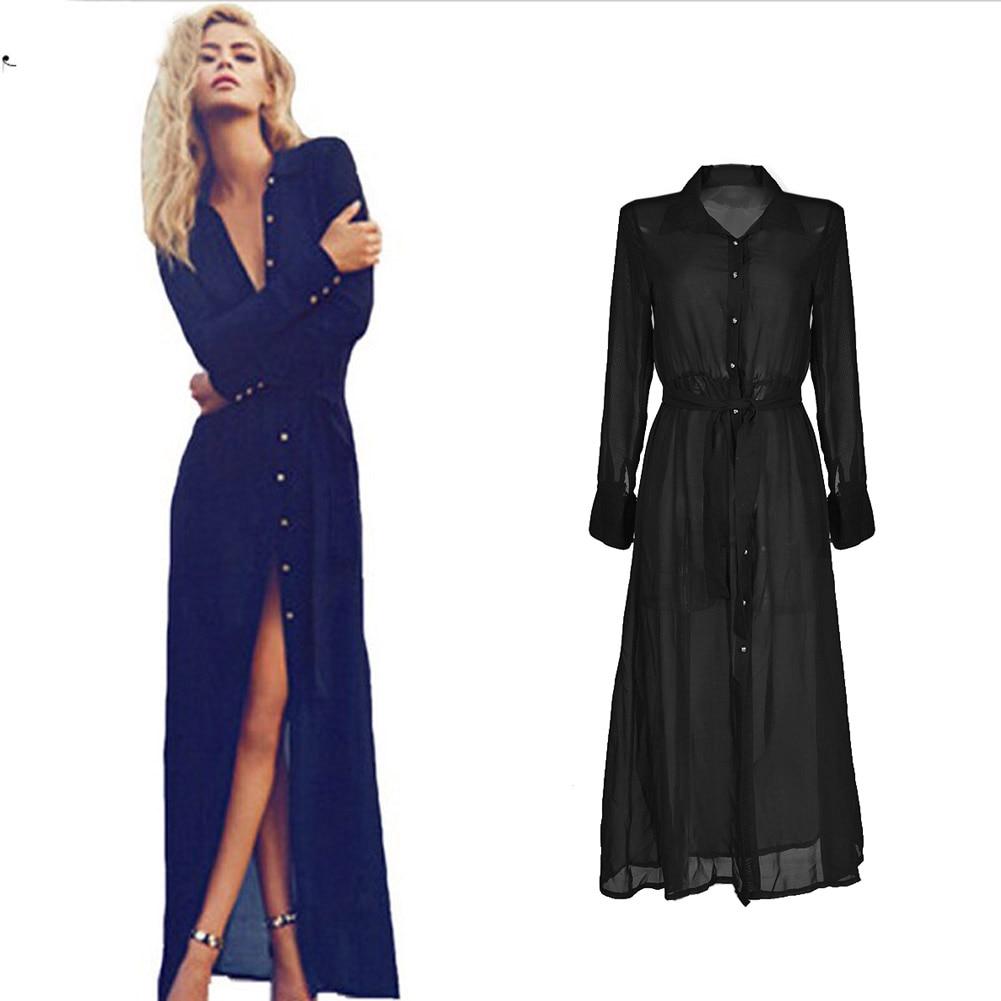Sexy Black Button Through Shirt Dress Long Sleeve Maxi Women Dress Robe Beach 2015 Runway Vintage See Through Chiffon Dress