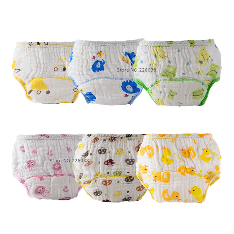 6 Layers Baby Underwear Cloth Diaper Infant Boys Girls Cartoon Printing Learning Pants Kids Diaper Cover QD02