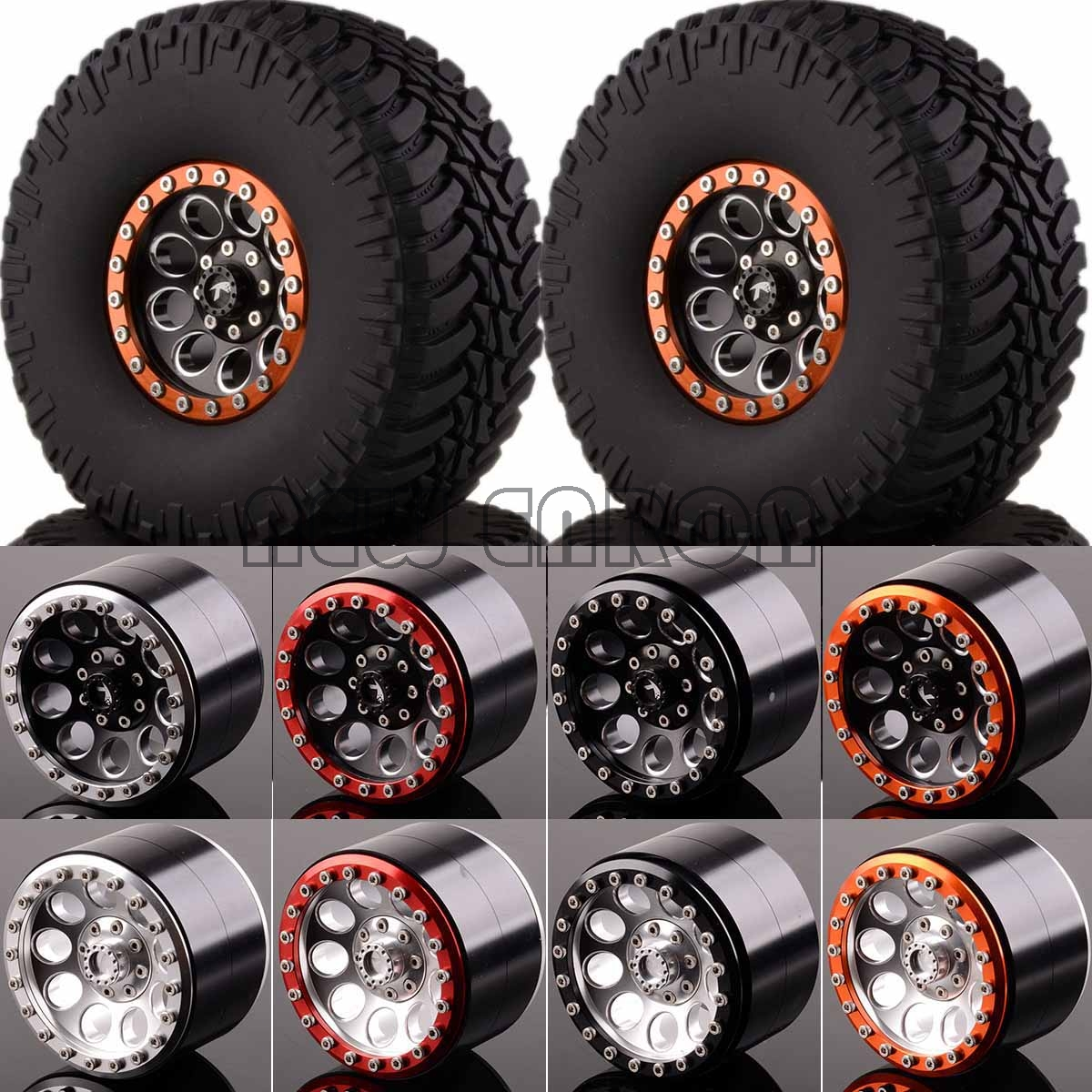 NEW ENRON 1:10 RC CAR 2.2 Beadlock Wheels & Tires 2020-3033 FOR 1/10 Crawler AXIAL Traxxas Tamiya HPI 2pcs 2 2 metal wheel hubs for 1 10 scale rc crawler car nv widen version outer beadlock wheels diameter 64 5mm width 43 5mm