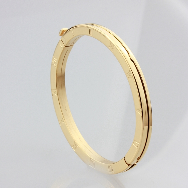 WLB0223 stainless steel women bangle.white gold roman numeral fashion bangels good quality rose gold jewelry for lady,party ring 2
