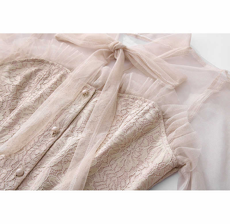 Elegante laço retalhos vestidos do vintage 2018 moda manga longa oco para fora da cintura a linha vestido de festa feminino a11