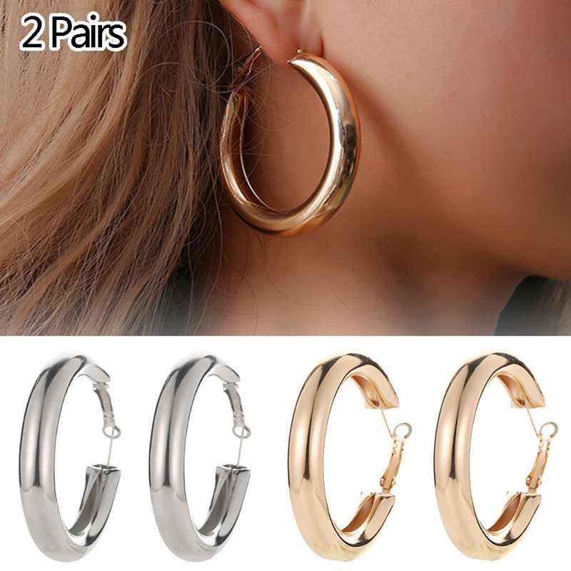165d80fe4 ... OL Styles 50MM Big Gold Hoops Earrings Minimalist Thick Tube Round  Circle Rings Earrings For Women ...