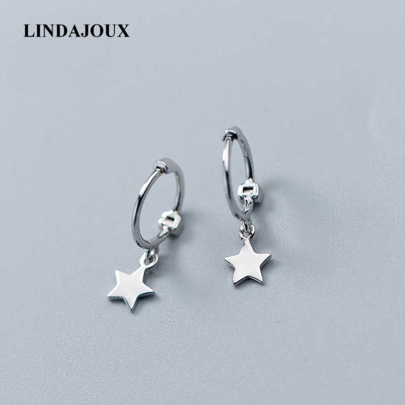 LINDAJOUX Small 925 Sterling Silver Hanging Stud Earrings For Women Star Cross Charm sterling-silver-jewelry Small Studs Earring