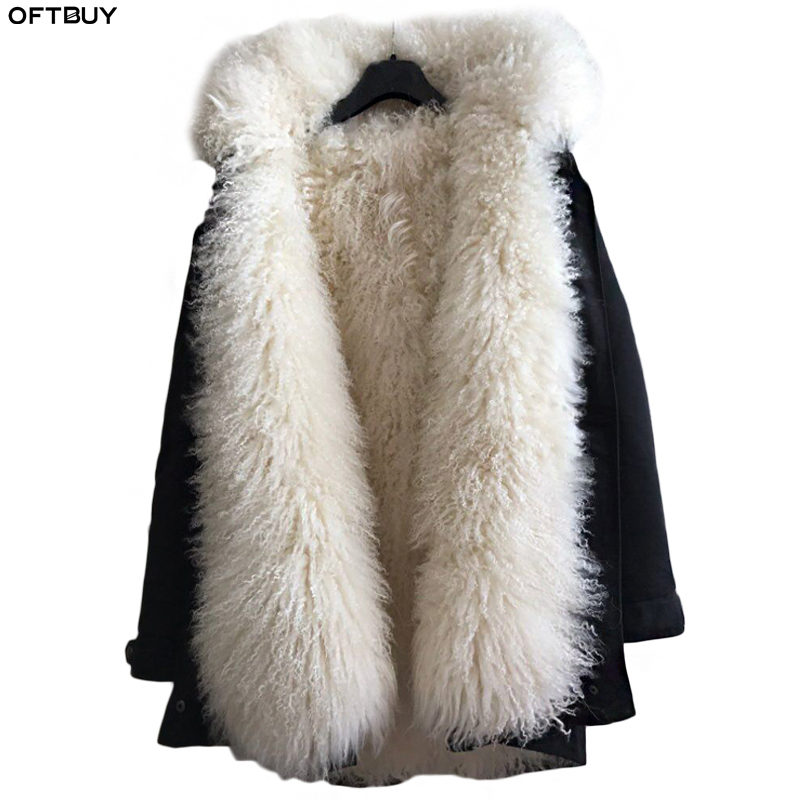 OFTBUY 2019 Long Parka Winter Jacket Women Real Fur Coat Natural Mongolia Sheep Fur Thick Warm Parkas Hood Plus Size Streetwear